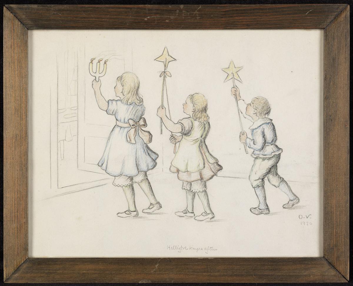2 piker og 1 gutt i prosesjon, pike m. kandelaber, pike og gutt m. stjerner på stang