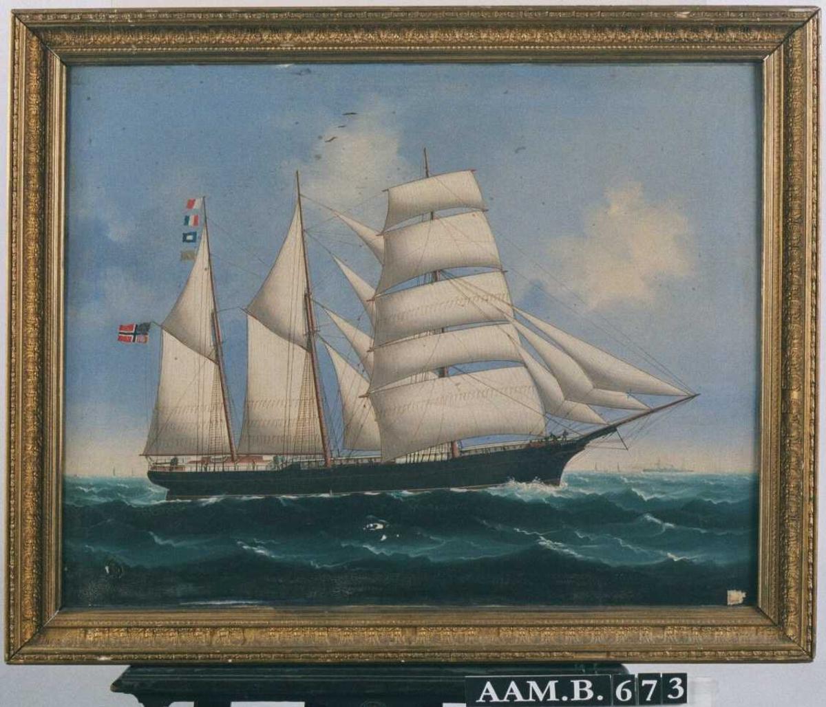 """Skonnertskip """"Erik Dahle"""" , for   fulle seil mot høyre, sort skrog, fører norsk unionsflagg."""