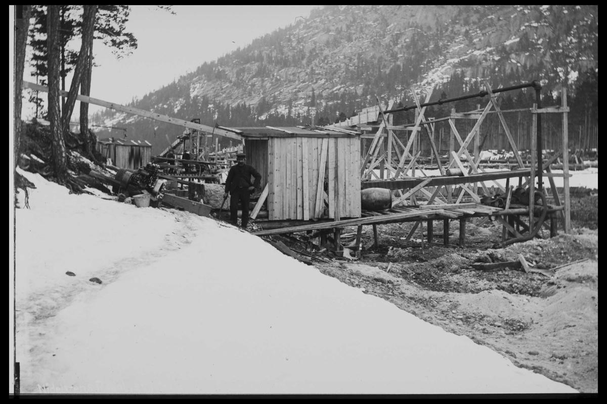 Arendal Fossekompani i begynnelsen av 1900-tallet CD merket 0446, Bilde: 51 Sted: Fyrisvann, Rudsdammen Beskrivelse: Regulering
