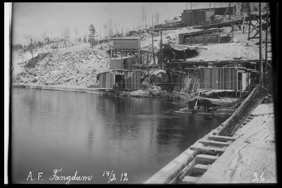 Arendal Fossekompani i begynnelsen av 1900-tallet CD merket 0565, Bilde: 100 Sted: Haugsjå Beskrivelse: Fangdam