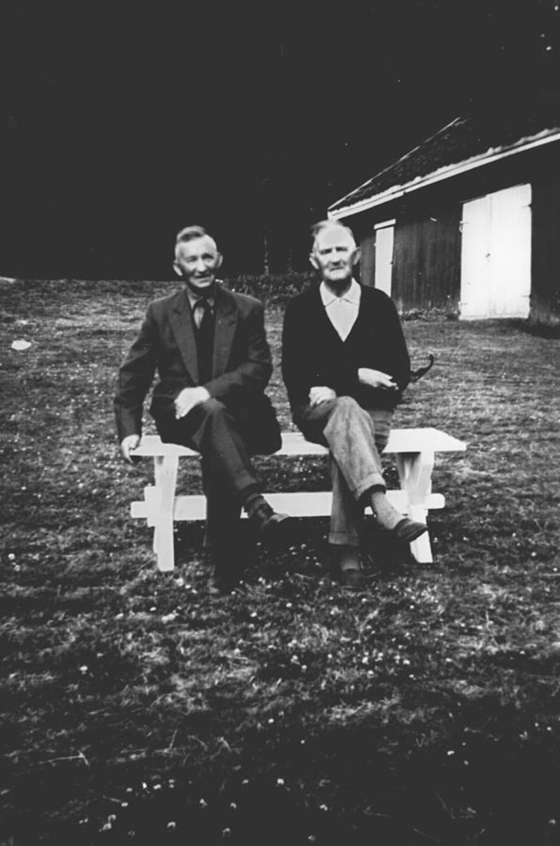 To menn på gårdstun.