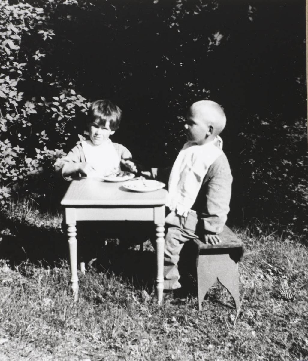 To små gutter, lite bord,krakk, tallerken,skog