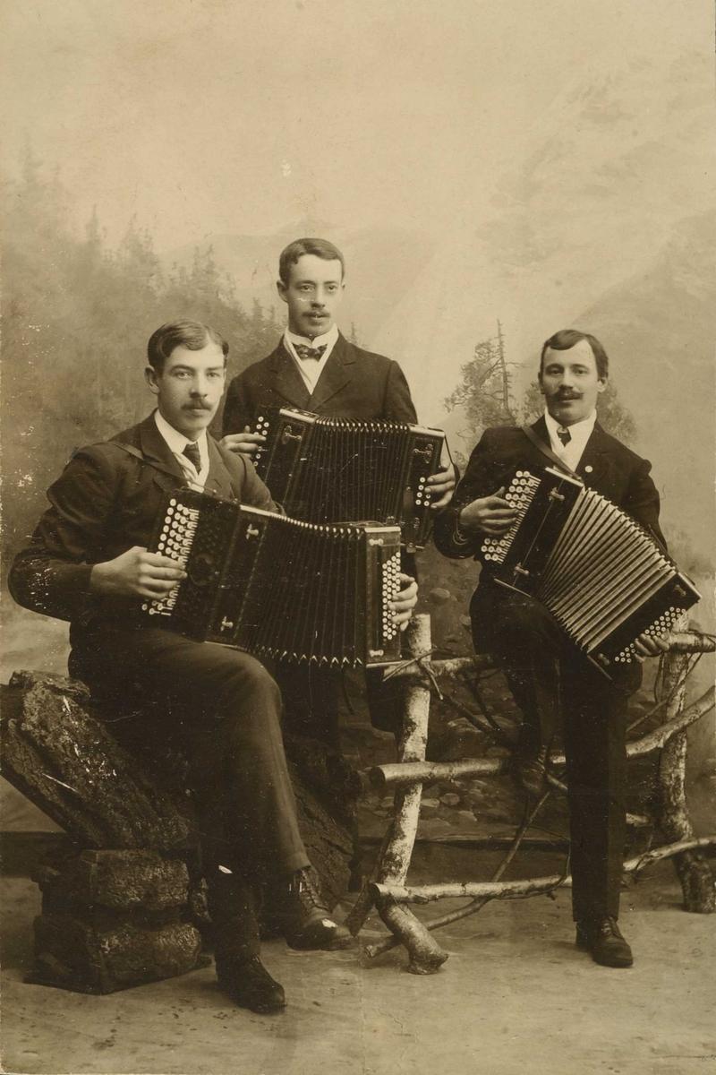 Unge menn med trekkspill i studio