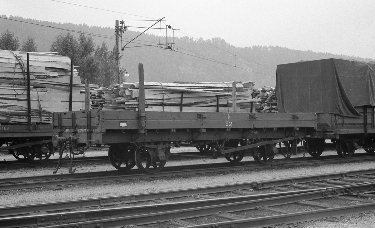Godsvogner med og uten last på Grovane stasjon