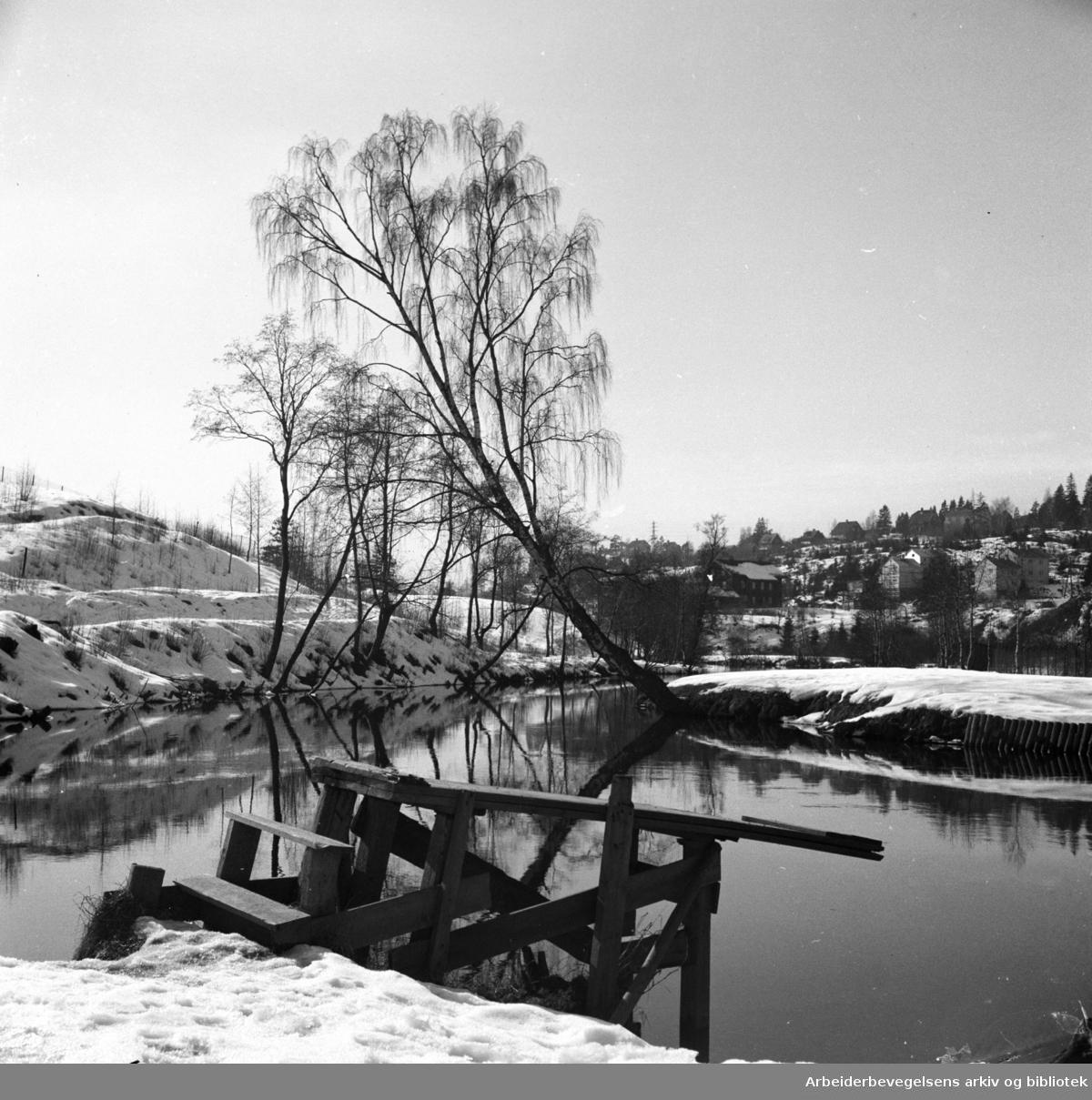 """Vinter ved """"Stilla"""" i Nydalen,.ca. 1950"""