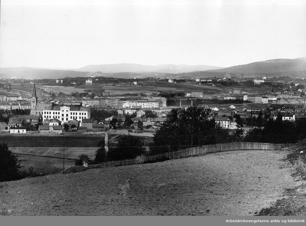 Sofienberg med Sagene i bakgrunnen, sett fra Ola Narr, ca. 1895