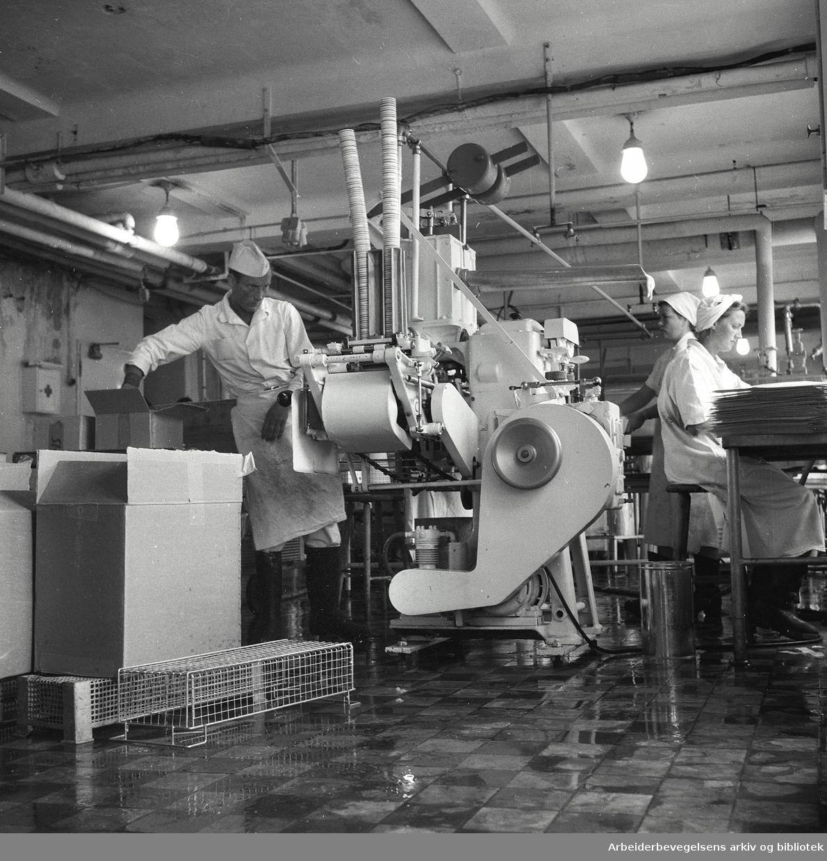 Iskremproduksjon på Fellesmeieriet,.juni 1957