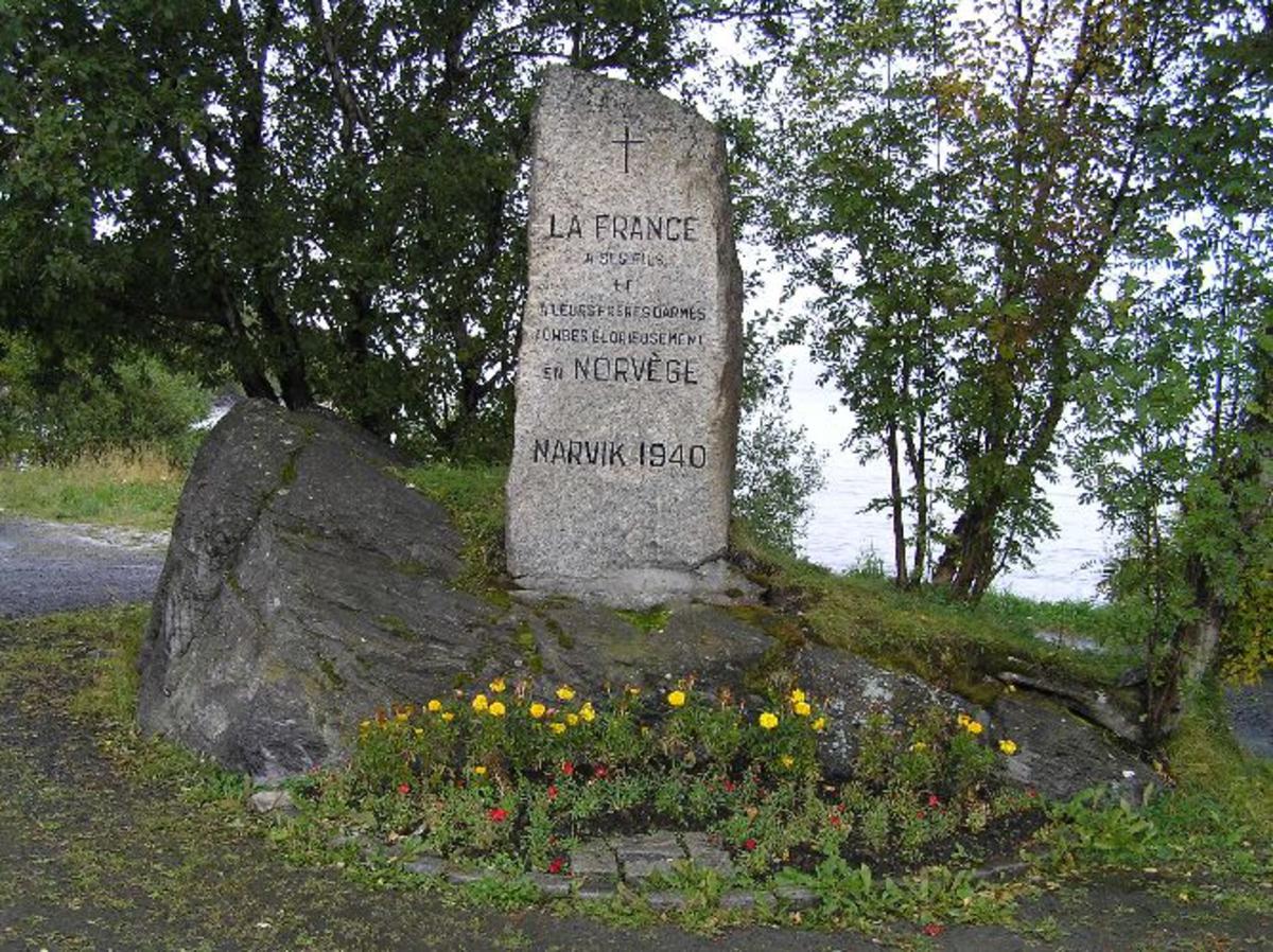 Minnesmerke over franske og allierte falne ved Narvik 1940
