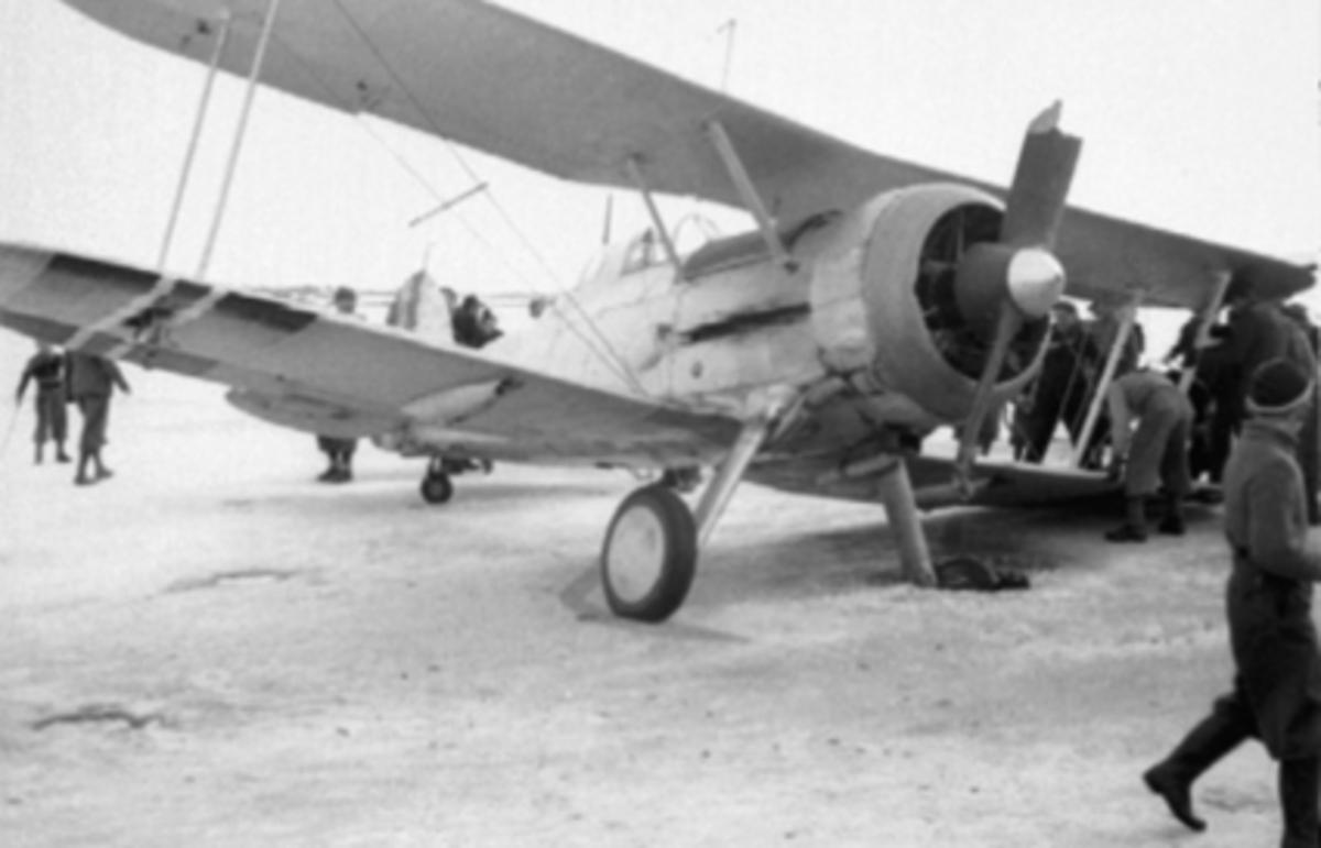Fly nødlandet under krigen på mjøsisen, 9. april 1940, mye folk, Gloster Gladiator jagerfly.   Tilhørte jagevingen på Fornebu. Evakuert via Steinsfjorden til Hamar etter at Fornebu ble tatt av tyskerne. Flyet fikk skader etter at et hjul gikk gjennom isen og ble eterlatt på Hamar. Fløyet av Rolf Thorbjørn Tradin, nestkommanderende for jagevingen.  Se også 0401-07562 og 0401-07563.