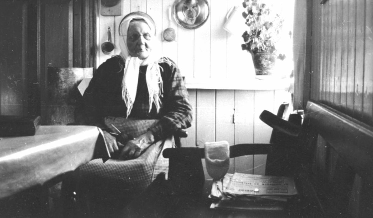 Pauline Stefferud (1842-1932) ved kjøkkenbordet i Fagerli, Helgøya. Pauline var fra Heggenstøen, gift med Johan Toresen (1833-1904). De bodde i Stefferud under Presterud, Helgøya. Som enke bodde Pauline i Fagerli.