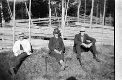 Tre menn sitter i gresset ved en skigard.