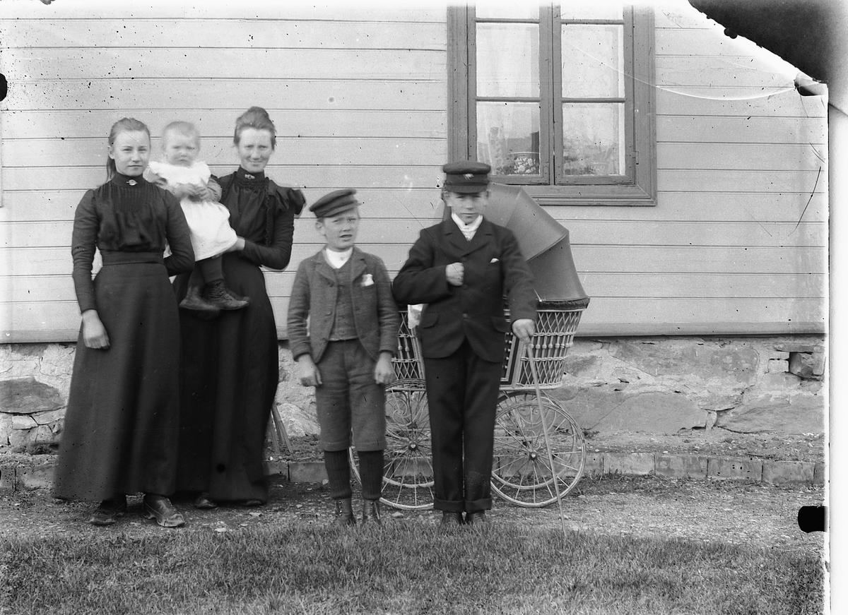 Bildet er tatt ca 1901 ved huset Granberg i Briskeby, Hamar og viser Borghild Hermansen (f. Mathiasdatter Diseneie i 1883) med sin eldste datter Margit (f. 1900) på armen. Borghild var gift med Helge Hermansen (f. 1877 i Løten) Borghild er datter til lokomotivfører Mathias Andersen (f. 1852) og Syverine A. (f. Olsdatter i 1851). Borghilds yngre brødre til høyre, senere urmaker og fotograf Ragnvald Andersen f. 1886 og til venstre senere jernbaneansatt Arne Andersen f. 1892.