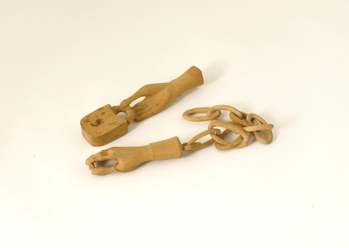 Lenke med lås, to hender og nøkkel.