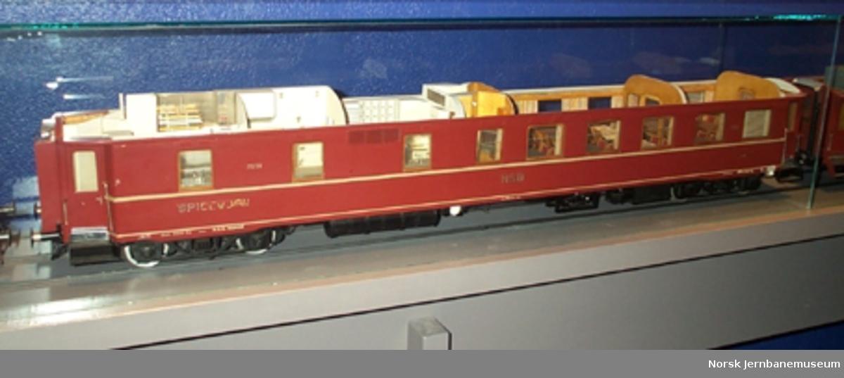 Modell av spisevogn litra Eo nr. 21251 : med innredning