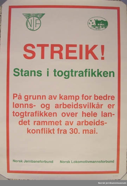 Plakat : streik fra 30. mai