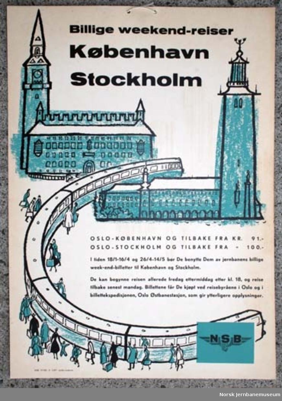 Reklameplakat : Billige weekend-reiser København Stockholm