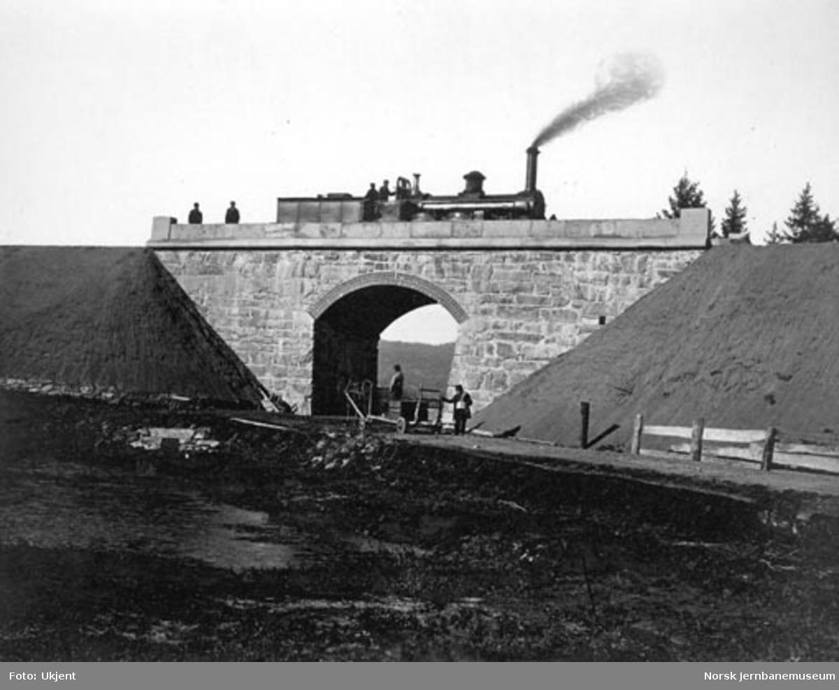 Den nye Frogner bru som i 1866 erstattet en trebru; damplokomotiv nr. 3 på brua