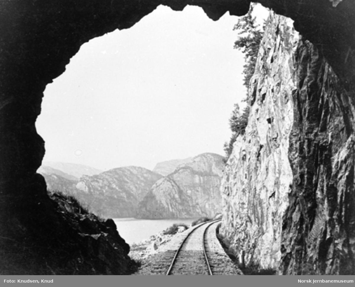 Parti fra Vossebanen; foto ut fra tunnelåpningen i Bergsenden tunnel