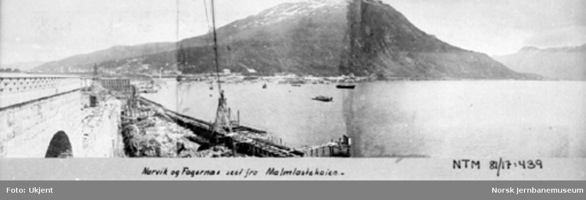 Oversiktsbilde med Narvik og Fagernes sett fra malmlastekaia : sammensatt av tre opptak