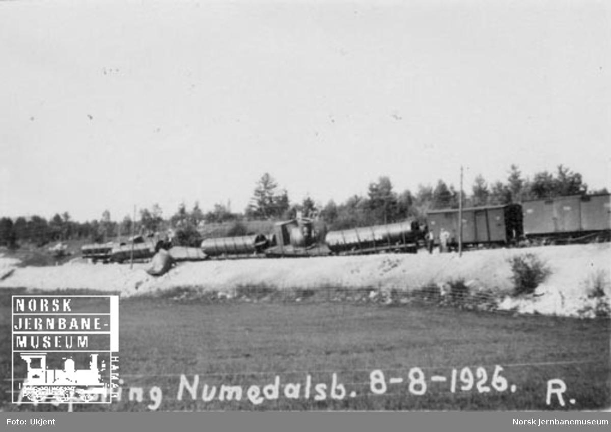 Avsporet godstog med materiell til Nore Kraftstasjon ved km 46; under den midlertidige driften på Numedalsbanen