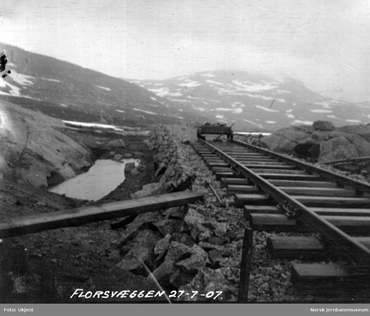 Bergensbanen ved Flossveggen, med en tralle på sporet