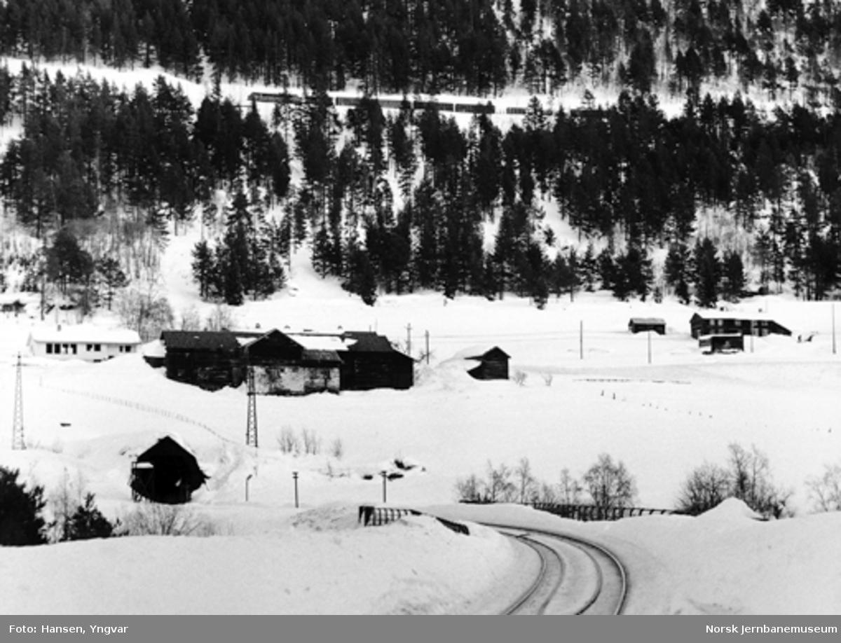 Godstog mellom Bjorli og Verma, fotografert fra sørsiden av Kylling bru