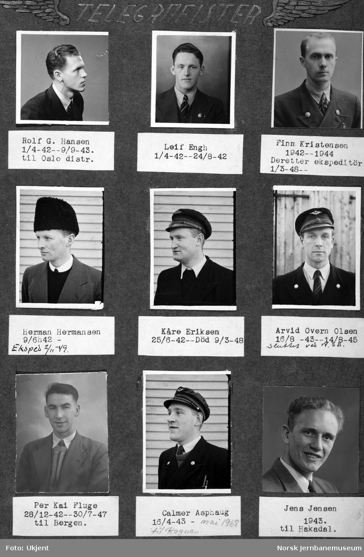 Personalbilder fra Mo i Rana stasjon : telegrafistene Hansen, Engh, Kristensen, Hermansen, Eriksen, Olsen, Fluge, Asphaug og Jensen