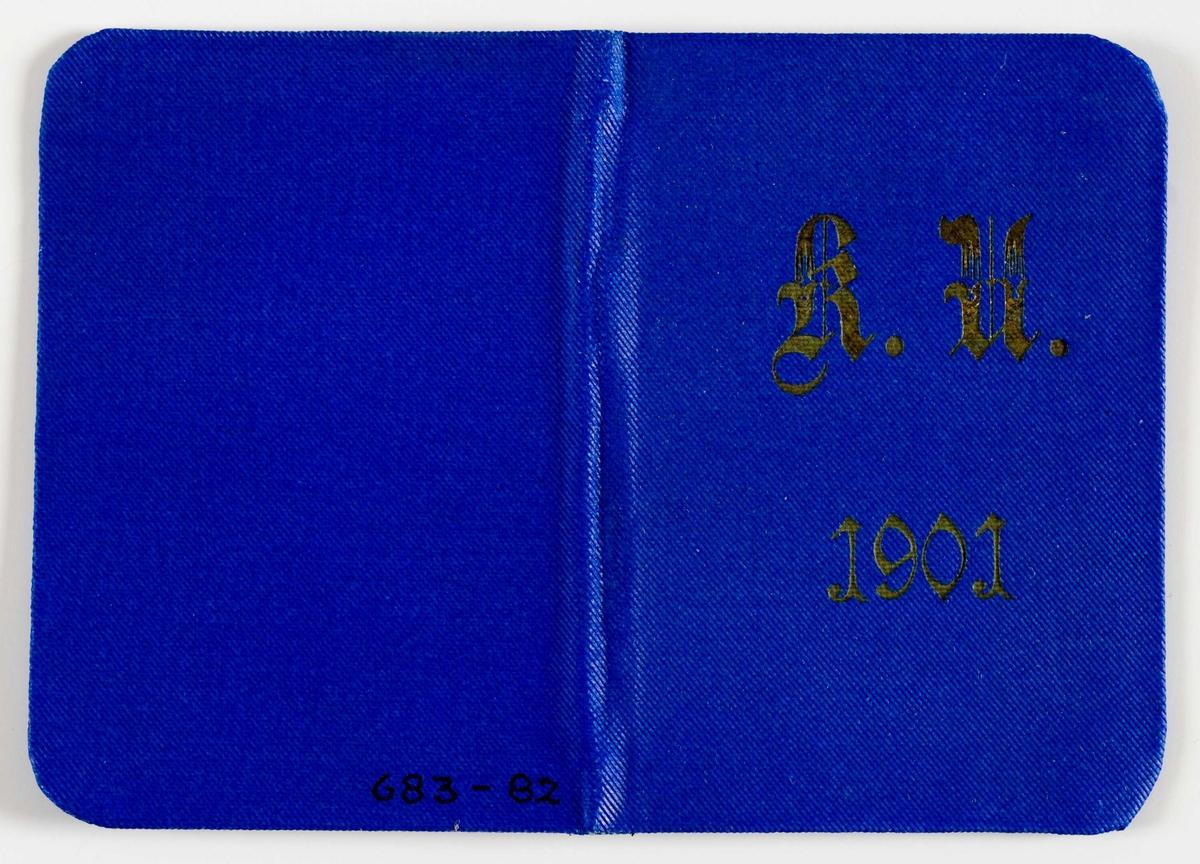 Adgangskort med blått omslag. Ubrukt.