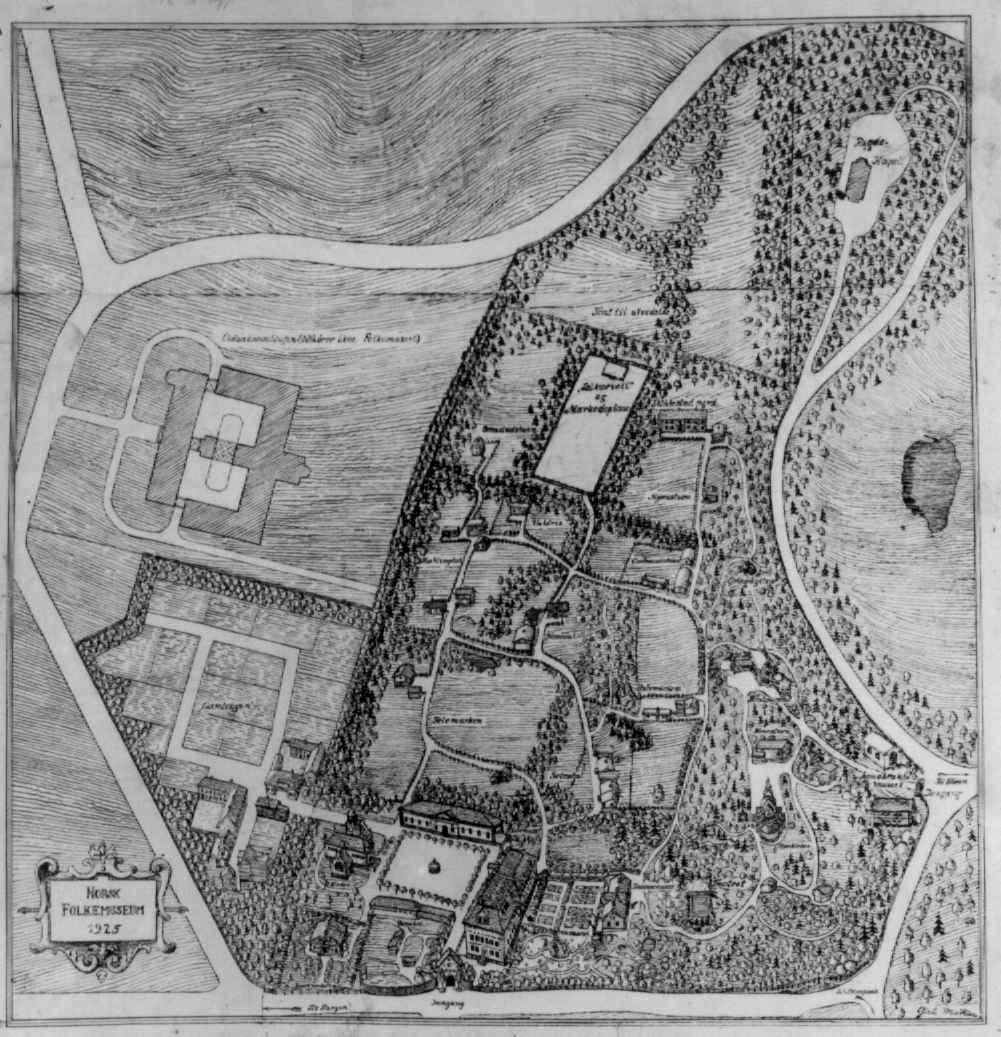 Kart over Norsk Folkemuseum  i 1925.