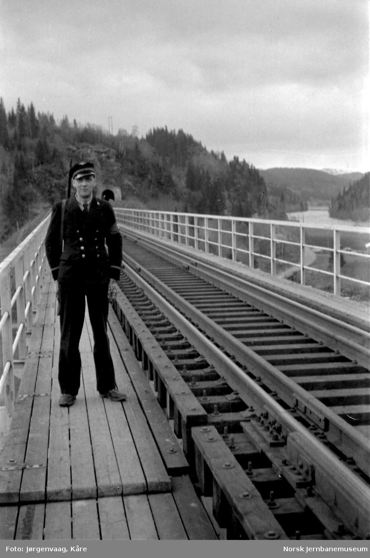 Nils Voksø går vakt på bru over Namsen ved Buneset