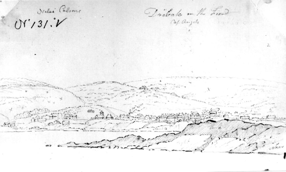 "Drøbak, Frogn, Akershus. Blyantskisse. John Edy: Drawings Norway 1800. ""Drøbak on the Fiord."" Landskap."