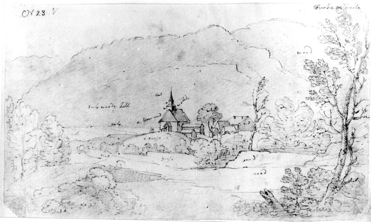 """BirkenesFra skissealbum av John W. Edy, """"Drawings Norway 1800""""."""