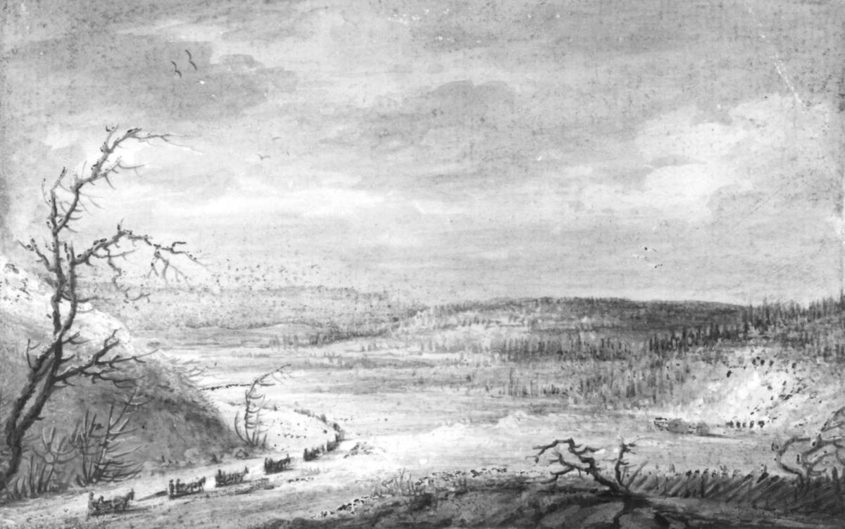 """KaravaneFra skissealbum av John W. Edy, """"Drawings Norway 1800""""."""