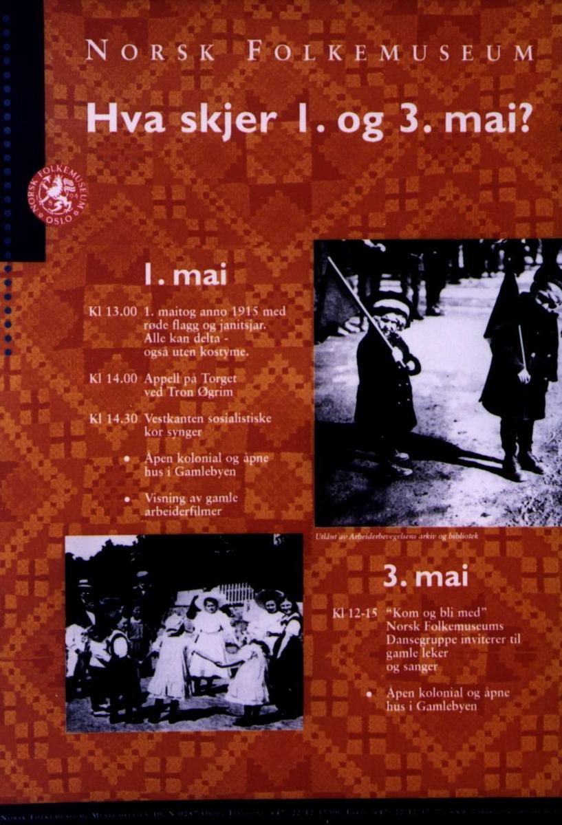 Plakat. Program for 1. og 3. mai på Norsk Folkemuseum i 1998.