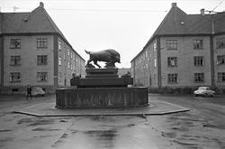 Serie. Skulpturer, Oslo. Den ene er oksefontenen på Hegerman