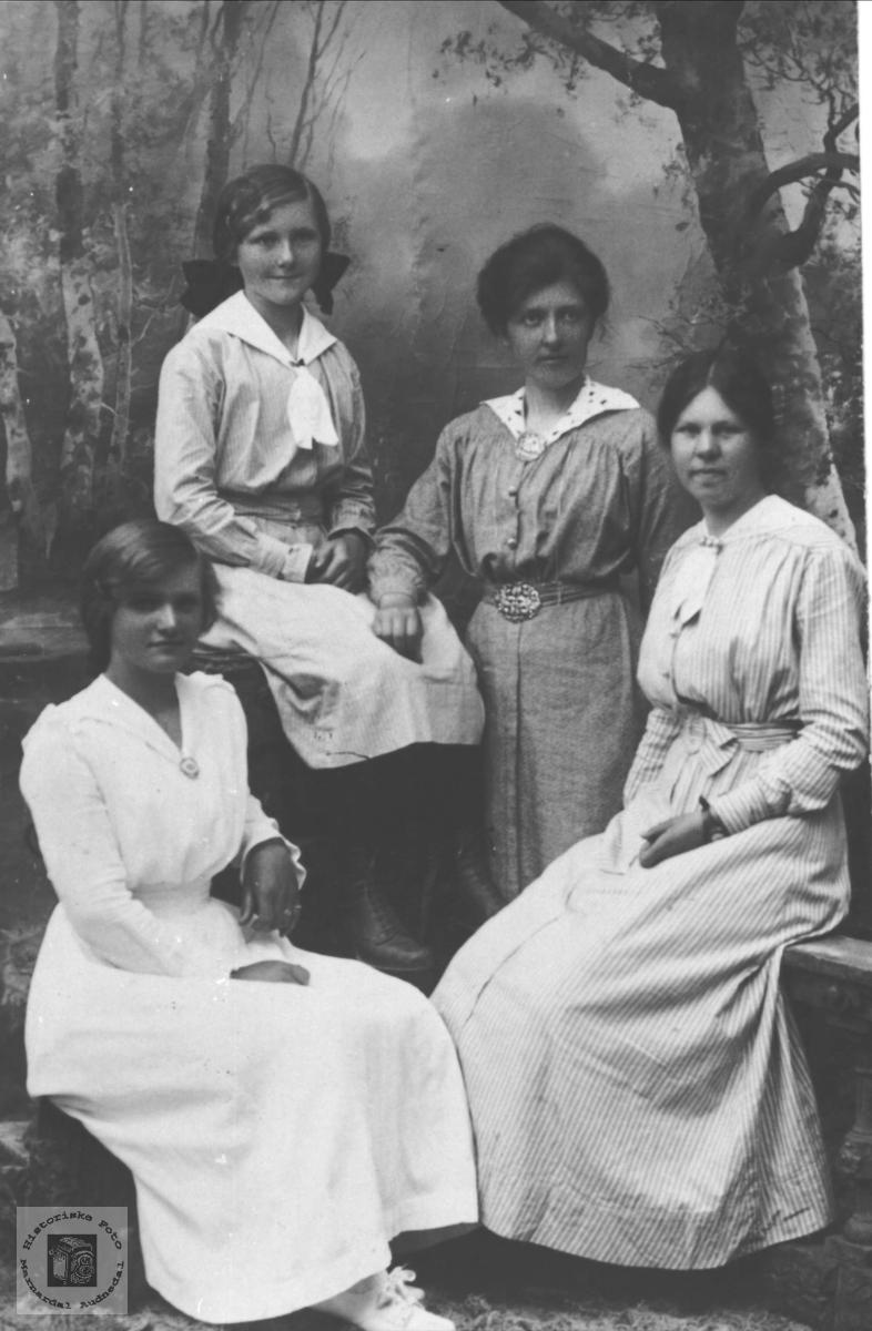 Portrett av jentegruppe Farestad, Heddeland, Mo og Leirkjær.