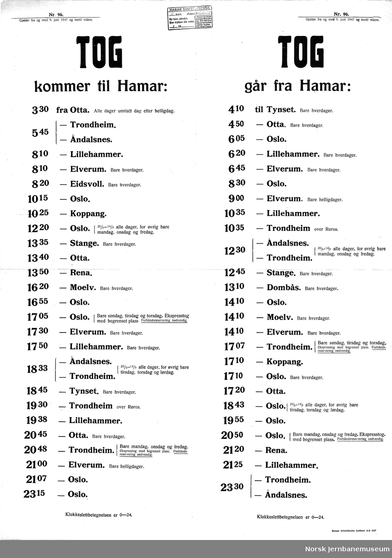 Ruteoppslag for Hamar stasjon  gjeldende fra 9. juni 1947 Nr. 96