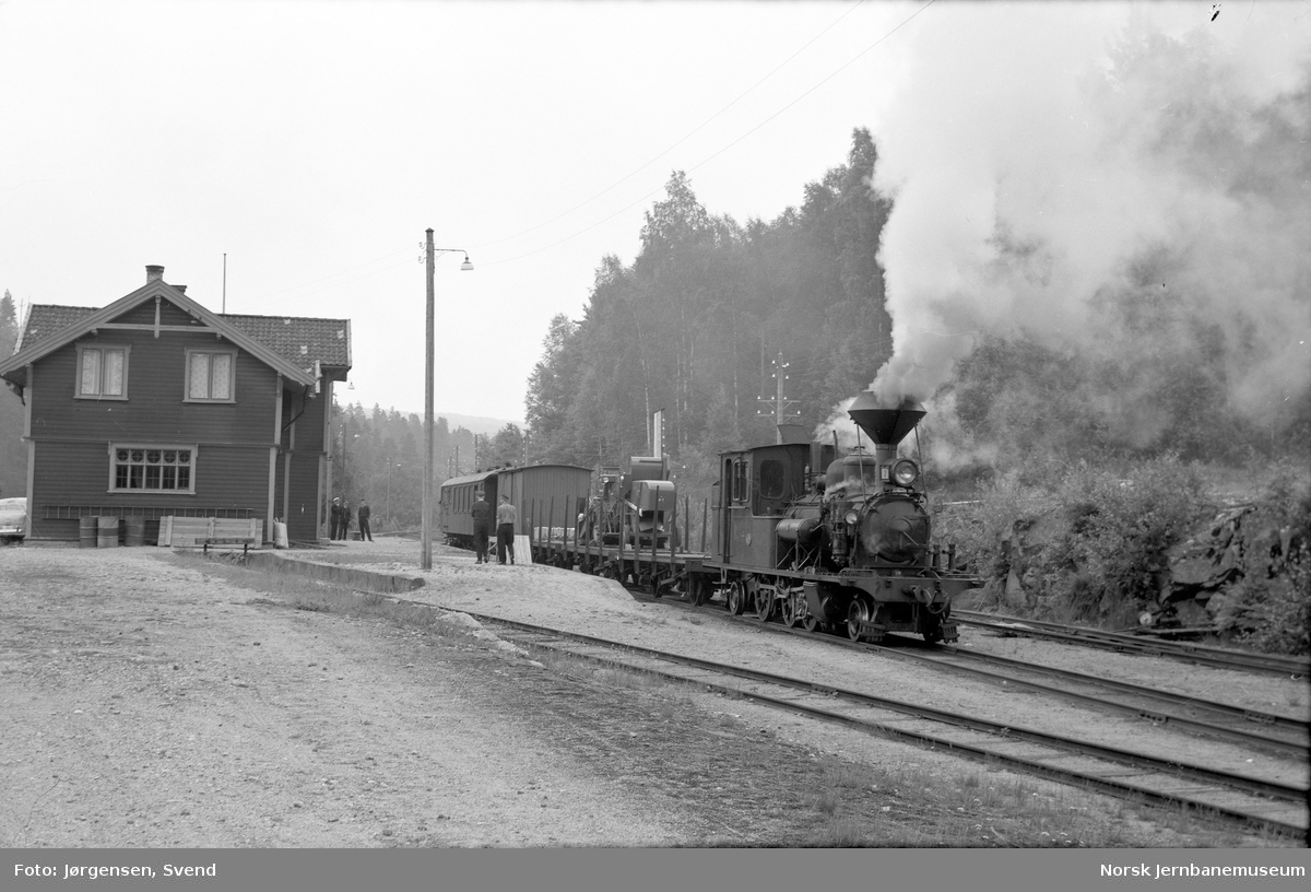 Damplokomotiv nr. 2 i nordgående godstog 5661 på Iveland stasjon
