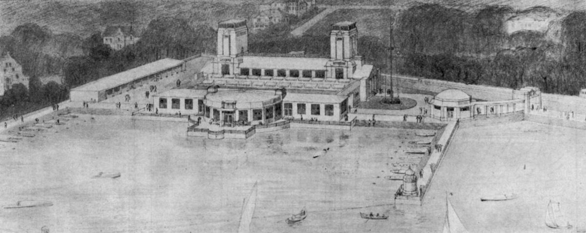 Tegning over det maritime utstillingsanlegg ved Skarpsno. - Jubileumsutstillingen på Frogner 1914.