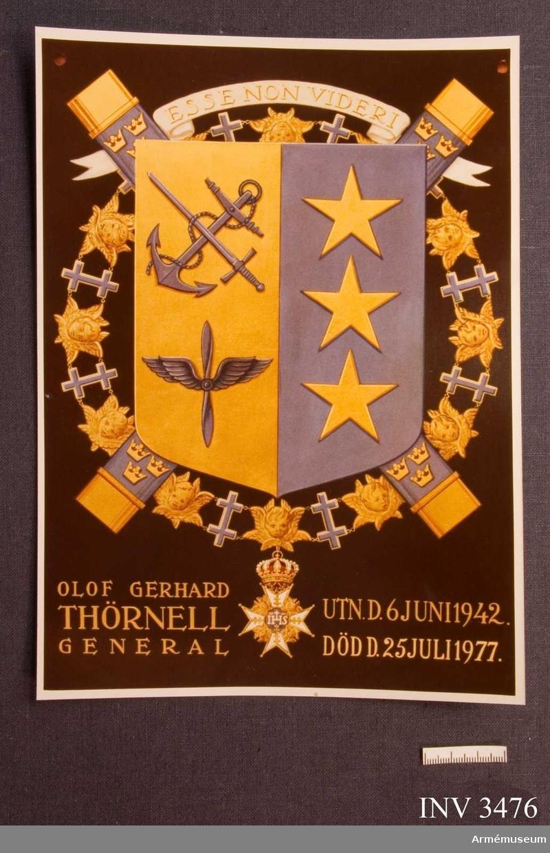 Fotografi av O Thörnells vapensköld. 1977. Mått 180 x 240 mm.Fotografisk återgivning av general Olof Thörnells serafimervapen. Visande tre generalsstjärnor, de tre vapenslagen, serafimerkedja och två korslagda marskalkstavar. Vapnet är ritat av general Olof Thörnell. Olof Gerhard Thörnell var född 18771019, var Överbefälhavare 1939-44, chef för konungens stab 1944-50. Död 19770825.  Tidigare och samhörande gåva: AM 2249 - 2281 + 3281 - 3299 + 3400 - 3409 + 2806 + 3476.