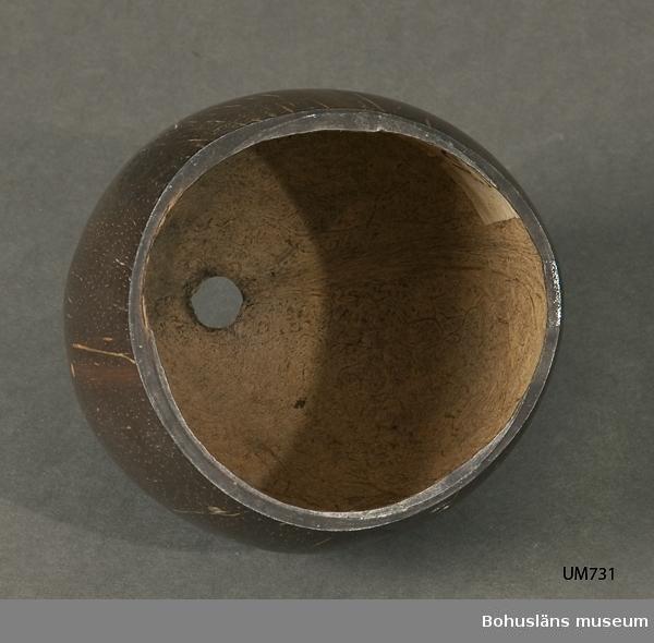 Ur handskrivna katalogen 1957-1958: Ask m. lock, kokosnöt. Australien. En del av nöten avsågad och bildar lock, b) ; asken a) H.10, D. c:a 11cm;  locket b) D. c:a 9,5 cm; utvändigt polerad. Hel.  Lappkatalog: 11