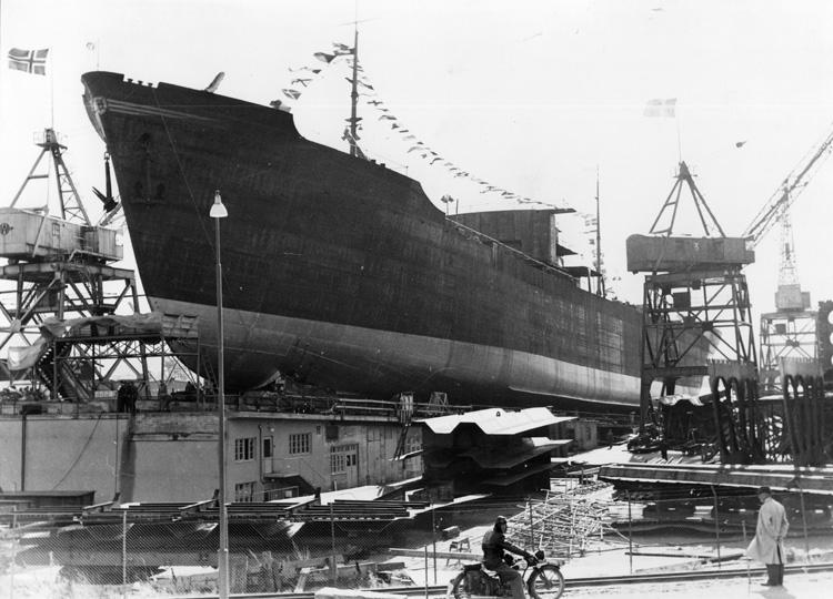 Inför sjösättning av 130 M/T Norse Lion.