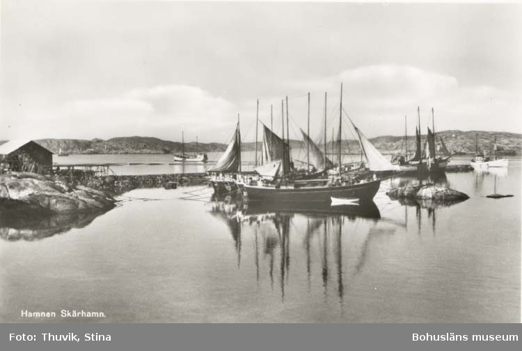 """Tryckt text på kortet: """"Hamnen. Skärhamn."""" """"Thuviks förlag, Skärhamn."""""""