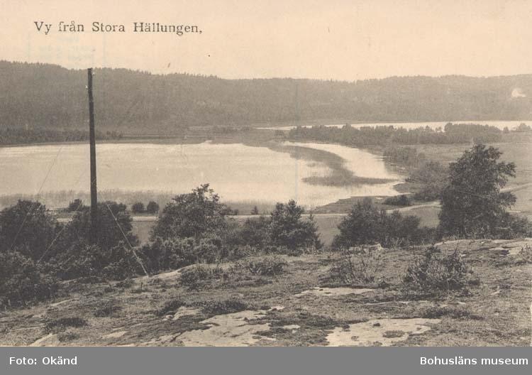 """Tryckt text på kortet: """"Vy från Stora Hällungen."""""""