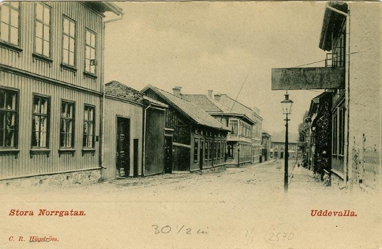 """Tryckt text på vykortets framsida: """"Stora Norrgatan. Uddevalla.""""  ::"""