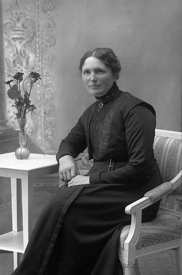 """Enligt fotografens journal Lyckorna 1909-1918: """"Jonsson, Fru Charlotte, Ellstorp, Arentorp""""."""