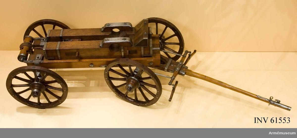 Grupp F I.  Skala 1/7. Kapten F A Spaks katalog 1888.    Till modellen hör även en blockvagn.