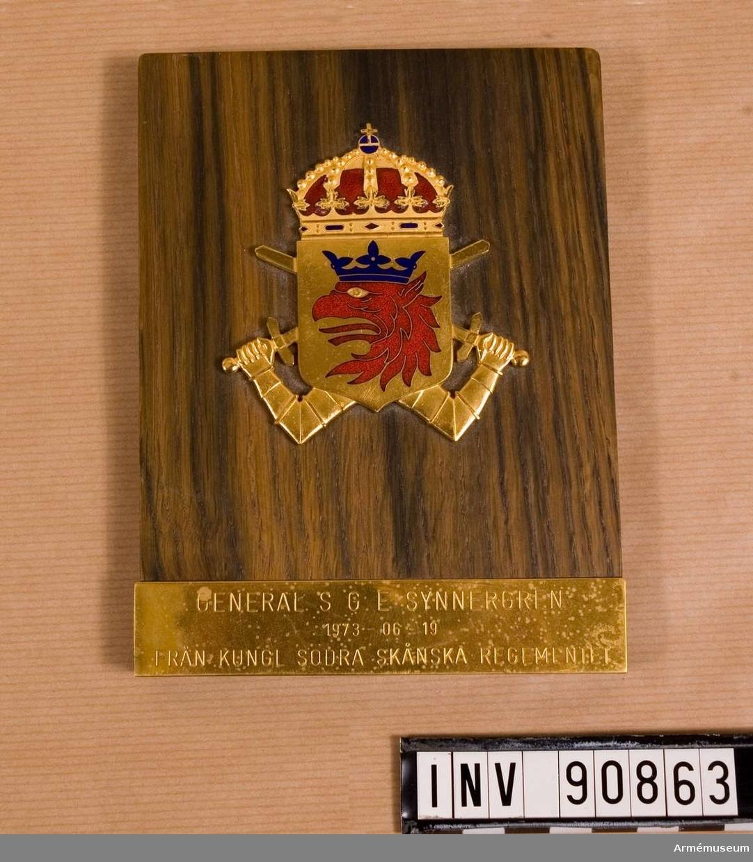 Till General Synnergren från Kungl. Södra Skånska Regementet