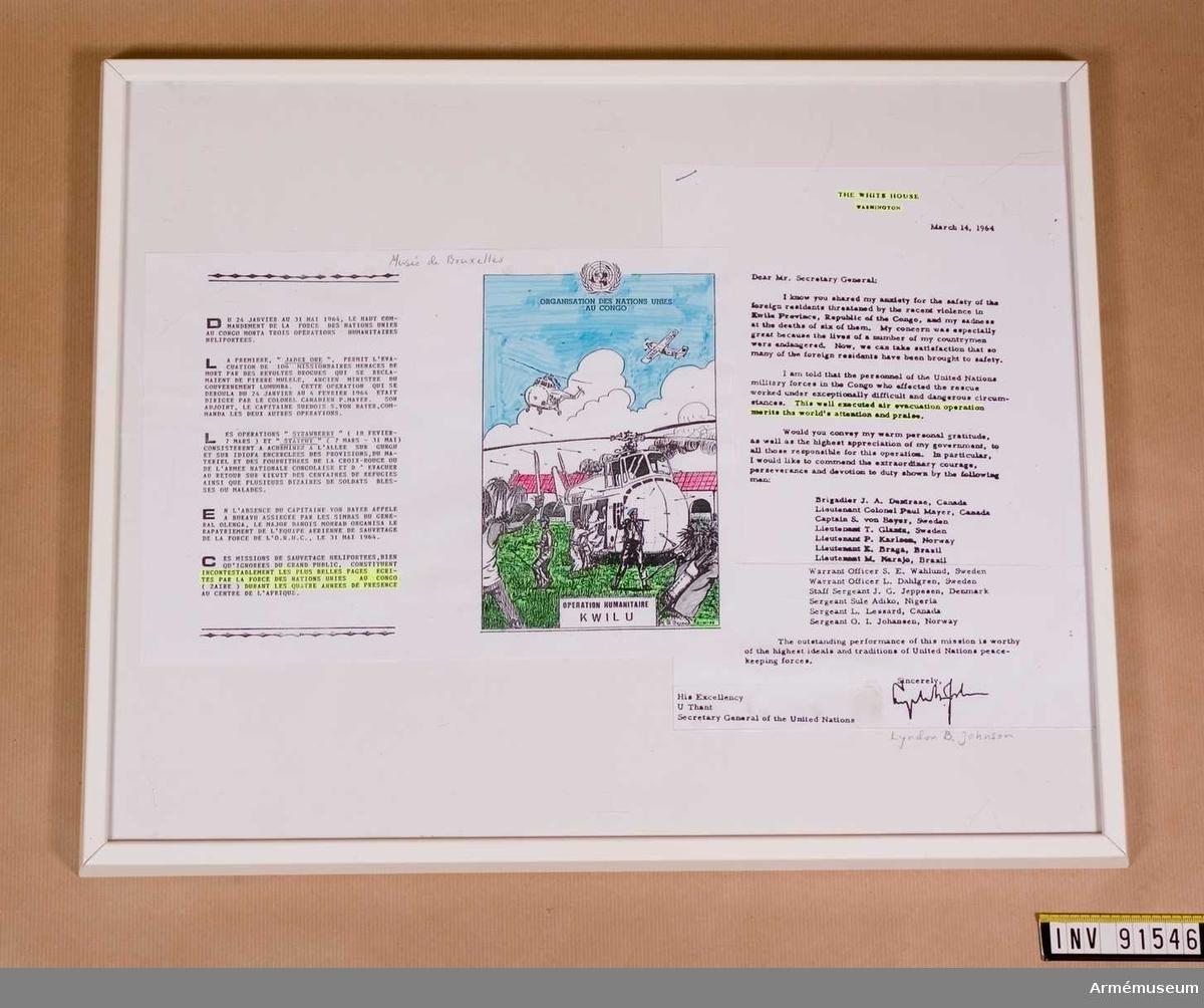 Brev från Vita huset till generalsekreterare U Thant, daterat 14 mars 1964 och underskrivet av Lyndon B Johnson.