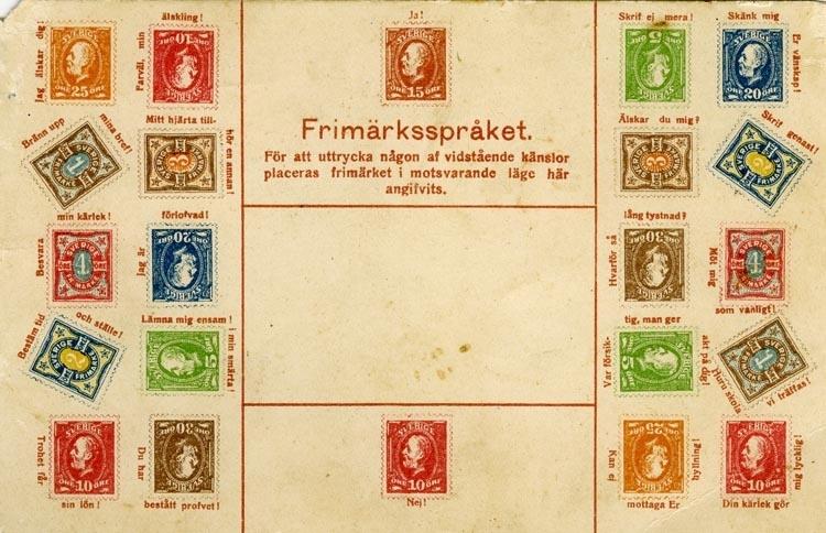 Notering på kortet: Frimärksspråket. För att uttrycka någon af vidstående känslor placeras frimärket i motsvarande läge här angifvits.
